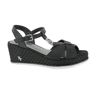 Levně Černé sandály na klínku Tom Tailor