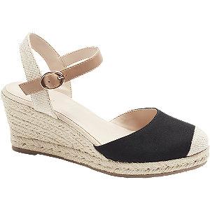 Levně Černé sandály na klínovém podpatku Graceland