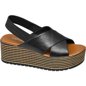 Levně Černé sandály na platformě Catwalk