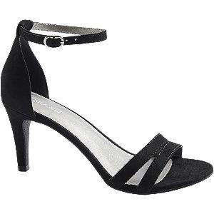 Levně Černé sandály na podpatku