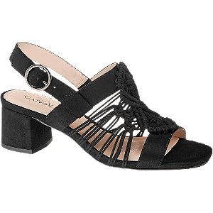 Levně Černé sandály na podpatku Catwalk