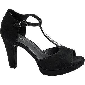 Levně Černé sandály na podpatku Graceland
