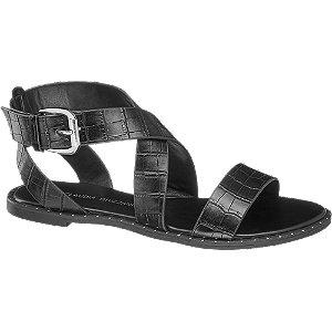 Levně Černé sandály se zvířecím vzorem Claudia Ghizzani