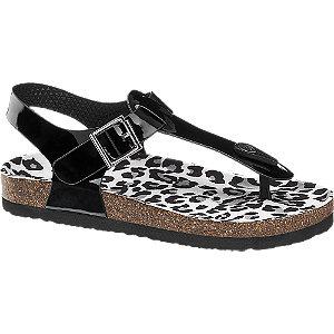 Levně Černé sandály se zvířecím vzorem Graceland