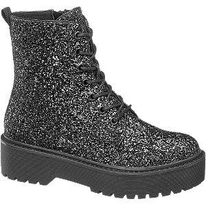 Levně Černá třpytivá šněrovací obuv se zipem Catwalk