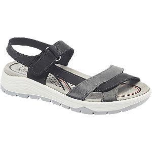 Levně Černo-šedé kožené komfortní sandály Easy Street