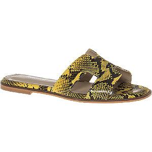 Levně Černo-žluté pantofle Catwalk se zvířecím vzorem