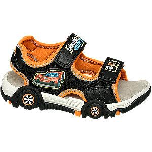 Levně Černo-oranžové sandály na suchý zip Hot Wheels