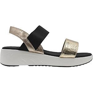 Levně Černo-zlaté sandály na klínku Claudia Ghizzani