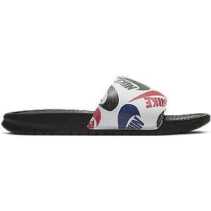 Levně Černobílé pantofle Nike Benassi Print & Swoosh