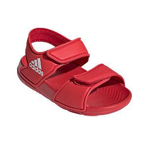 Levně Červené dětské plážové sandály Adidas Alta Swim I
