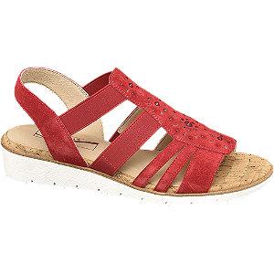 Levně Červené kožené komfortní sandály Medicus