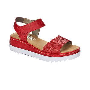 Levně Červené kožené komfortní sandály na platformě Rieker