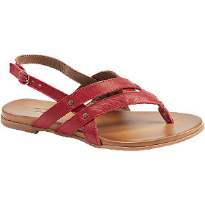 Levně Červené kožené sandály 5th Avenue