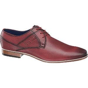 Levně Červená kožená společenská obuv Bugatti