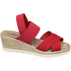 Levně Červené komfortní sandály Easy Street na klínovém podpatku