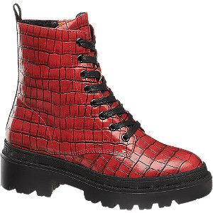Levně Červená šněrovací obuv se zipem Catwalk se zvířecím vzorem