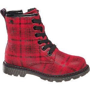 Levně Červená šněrovací obuv se zipem Tom Tailor s TEX membránou