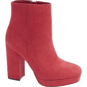 Levně Červené nízké kozačky se zipem Catwalk