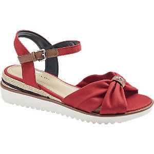 Levně Červené sandály na klínku Tom Tailor