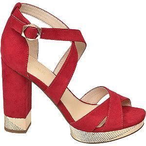 Levně Červené sandály na podpatku Catwalk