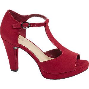 Levně Červené sandály na podpatku Graceland