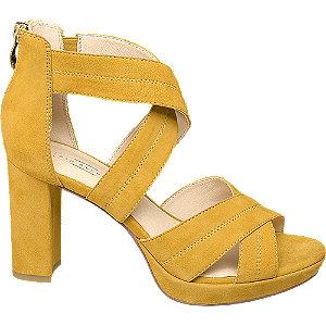Levně Žluté kožené sandály na podpatku 5th Avenue