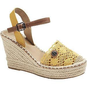 Levně Žluté sandály na klínku Tom Tailor