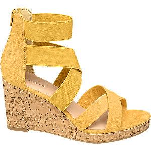 Levně Žluté sandály na klínovém podpatku Graceland