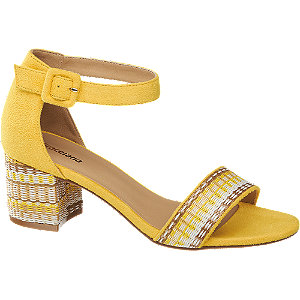 Levně Žluté sandály na podpatku Graceland