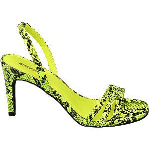 Levně Žluté sandály na podpatku Graceland se zvířecím vzorem