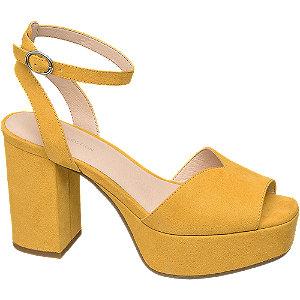 Levně Žluté sandály na podpatku Rita Ora