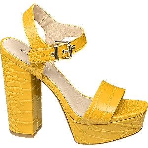 Levně Žluté sandály na podpatku Rita Ora se zvířecím vzorem