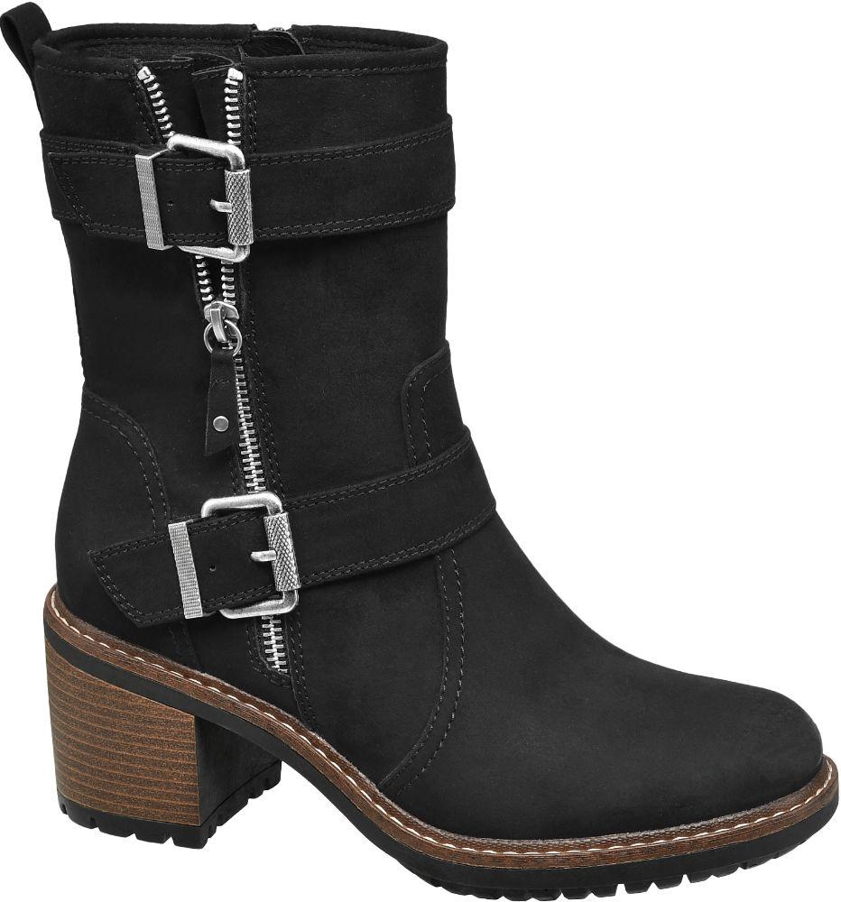 Graceland Siyah Kalın Topuklu Çizme