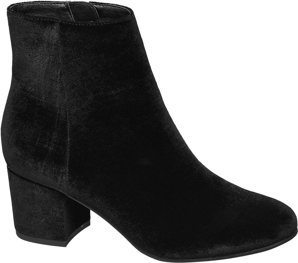 Graceland Siyah Kalın Topuklu Kısa Çizme