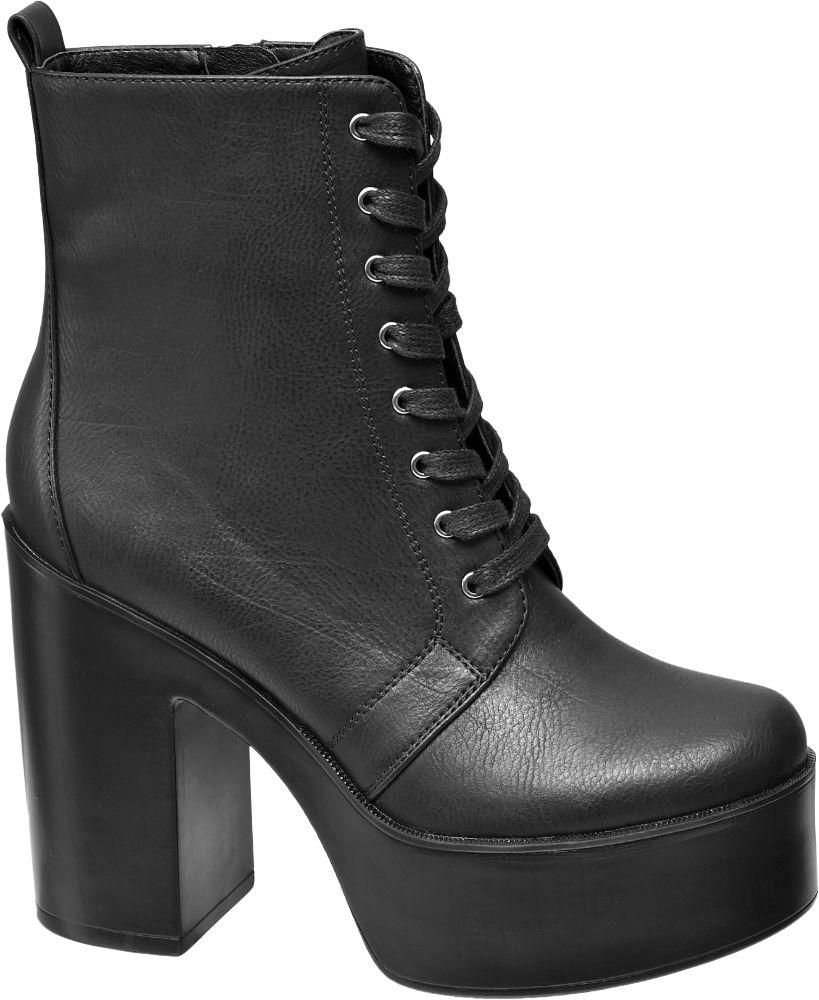 Catwalk Siyah Platform Topuklu Çizme