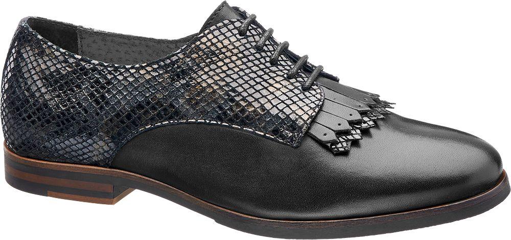 5th Avenue Siyah Deri Oxford Ayakkabı