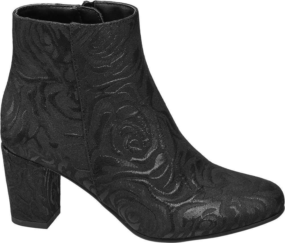 Catwalk Siyah Kalın Topuklu Kısa Çizme
