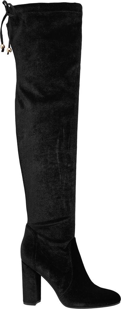 Catwalk Siyah Kalın Topuklu Diz Üstü Çizme