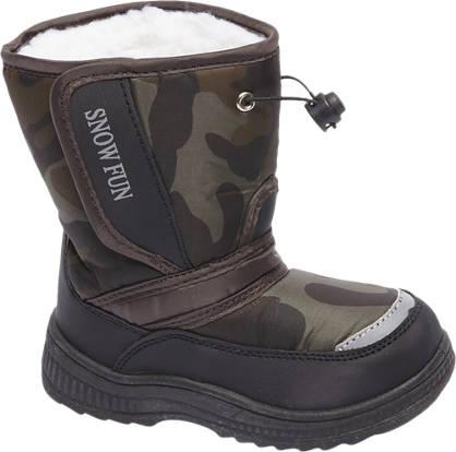 Zwarte snowboot legerprint