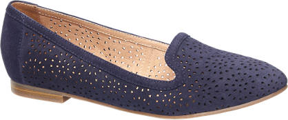 5th Avenue Blauwe suède loafer perforaties