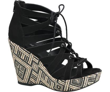 Graceland Zwarte sandalette aztec sleehak