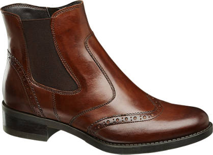 5th Avenue Bruine leren chelsea boot brogue look