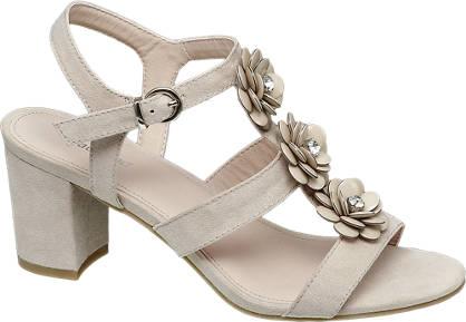 Graceland Beige sandalette sierbloemen