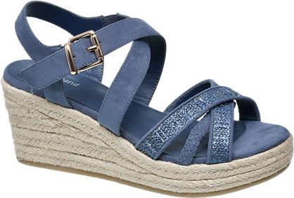 Graceland Blauwe sandalette espadrille sleehak