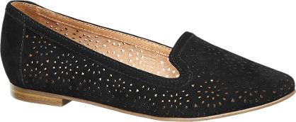 5th Avenue Zwarte suède loafer perforaties