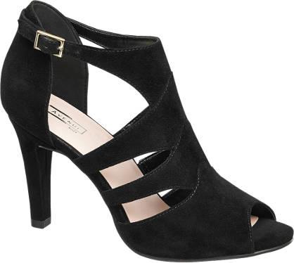 5th Avenue Zwarte suède sandalette peeptoe
