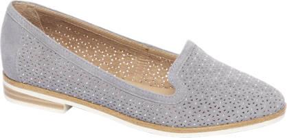 5th Avenue Blauwe suède loafer perforatie