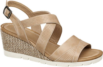 5th Avenue Beige leren sandalette sleehak