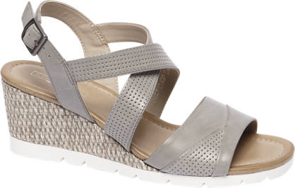 5th Avenue Grijze leren sandalette sleehak